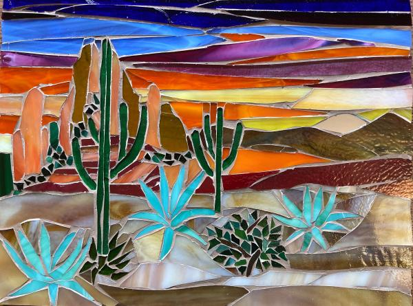 Arizona Sunset Glass Mosaic Wall Art