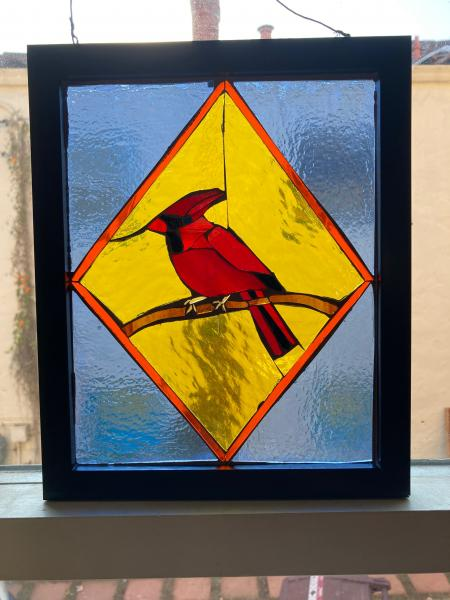 Red Cardinal Stained Glass Suncatcher