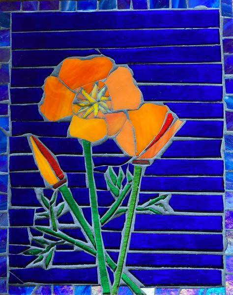 California Poppies Glass Mosaic
