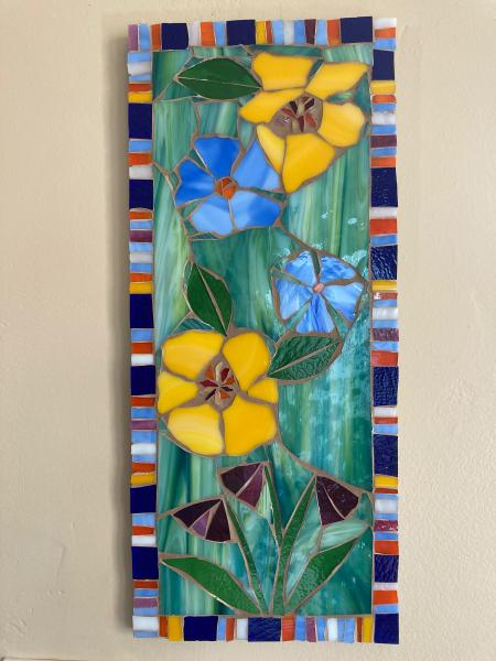 Cheerful Flowers Glass Mosaic Wall Art