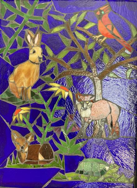 Forest Critters Glass Mosaic Wall Art