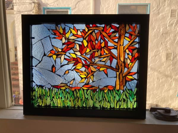 Autumn Leaves Stained Glass Mosaic