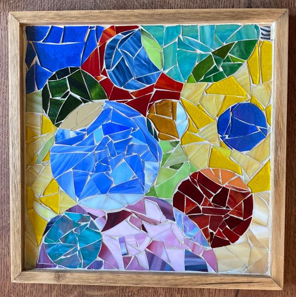 Interlocking Circles Glass Mosaic Wall Art