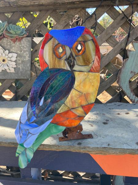 Colorful mosaic garden owl