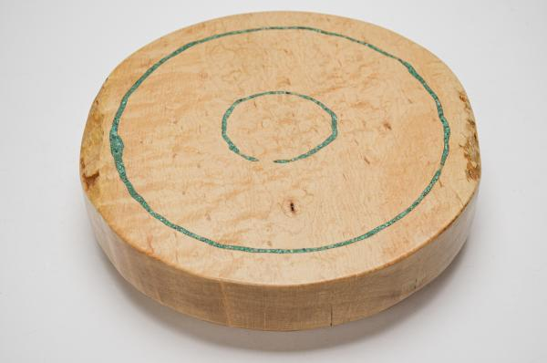 "11"" Dia Birdseye Maple Lazy Susan w/ Chrysocolla Inlay (#LS-2019-101) picture"