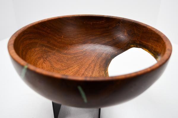 "8-1/4"" dia. Mesquite Bowl w/ Natural Void & Chrysocolla Inlay (#B-2020-3) picture"