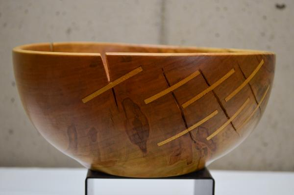 "Ambrosia Maple Bowl w/ Yellow Heart ""Stitches"" (#B-1908)"