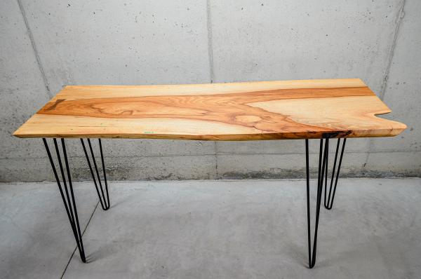 Live-Edge Pecan Table/Desk w/ Chrysocolla Inlay & Walnut Bowtie (#T-1945) picture