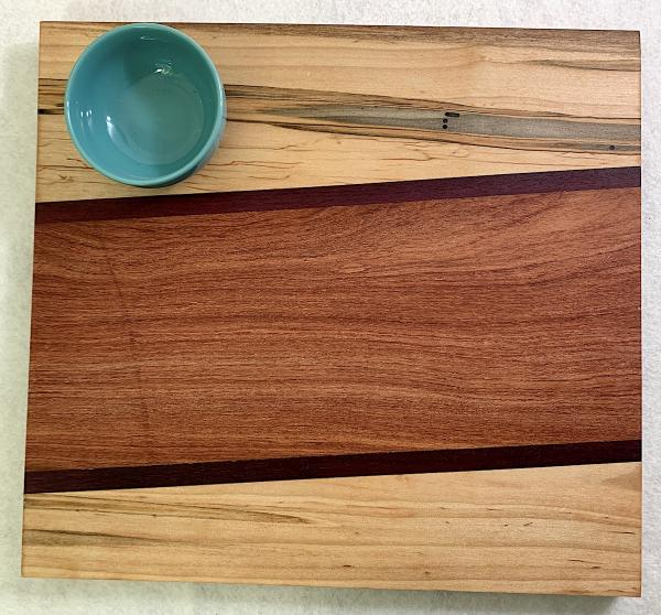 Maple Abrosia, Purpleheart, Sapele Cutting Board with Turquoise Stoneware Bowl