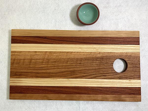Cherry/Eberia/Ash/White Oak Cutting Board w/ Bowl picture