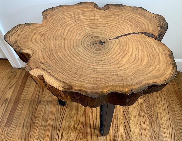 Oak Tree Trunk Slice with Burgundy Epoxy End Table