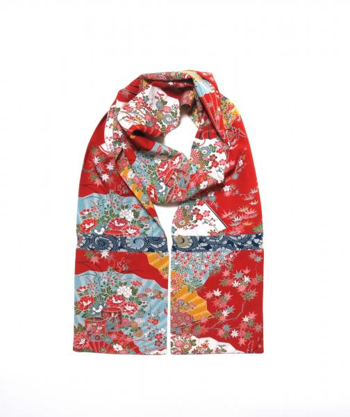 Poppy Red Straight Silk Kimono Scarf - Lovely!