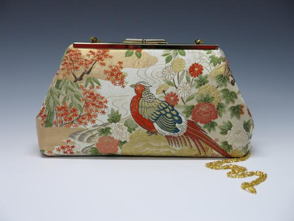 Japanese Pheasant Silk Obi Clutch