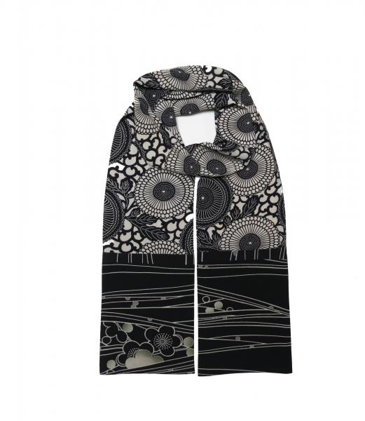 Straight Silk Kimono Scarf - Black and Bone