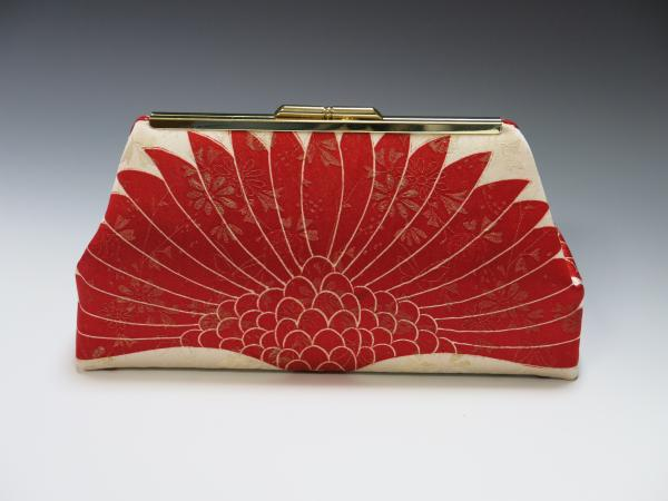 Red Crane Wings Silk Kimono Clutch