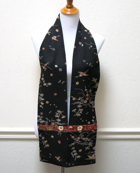 Straight Silk Japanese Kimono Scarf - Colorful Cranes picture