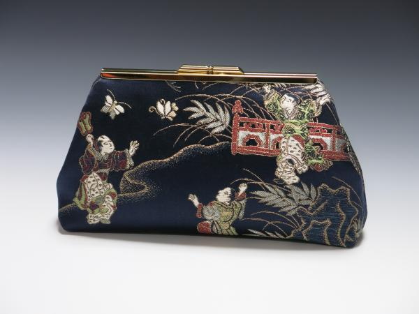 Japanese Silk Obi Clutch - Monks Chasing Butterflies