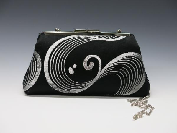 Black and Silver Wave Silk Clutch