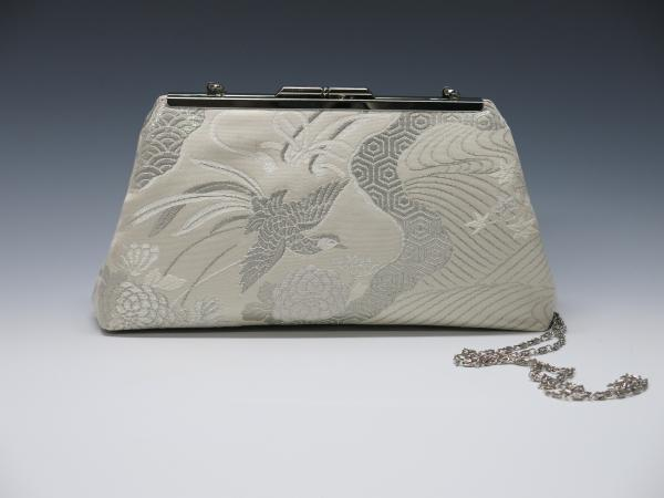 White Phoenix Silk Obi Clutch