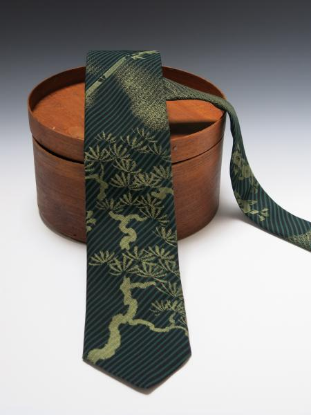 Men's Japanese Silk Kimono Tie - Dark Green