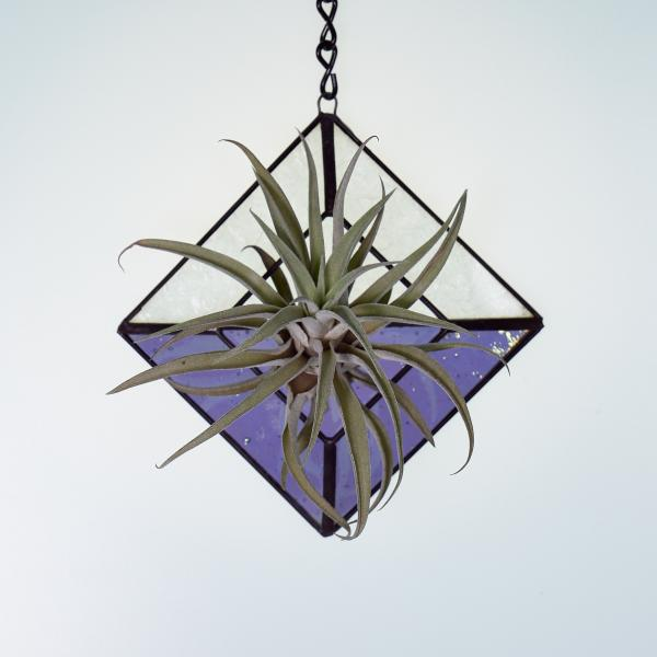 Diamond Hanging Stained Glass Air Plant Holder - Iridescent Lilac