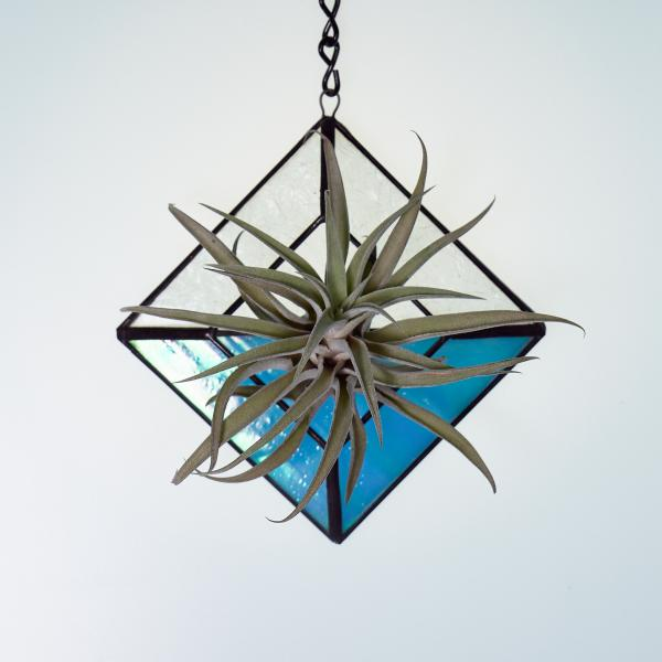 Diamond Hanging Stained Glass Air Plant Holder - Iridescent Aqua