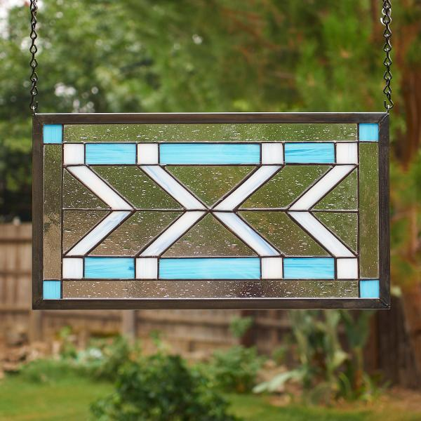 Frank Lloyd Wright Inspired Stained Glass Window Panel - Blue