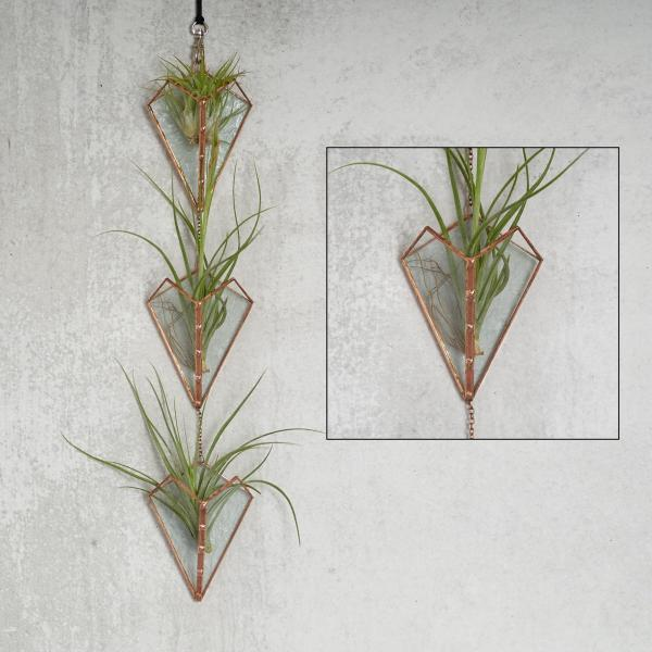 Wall Hanging Triple Stained Glass Air Plant Holder
