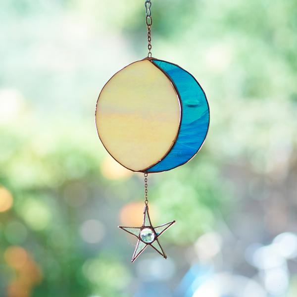 Stained Glass Moon Phase Suncatcher with Star - Iridescent Amber/Streaky Teal, Copper