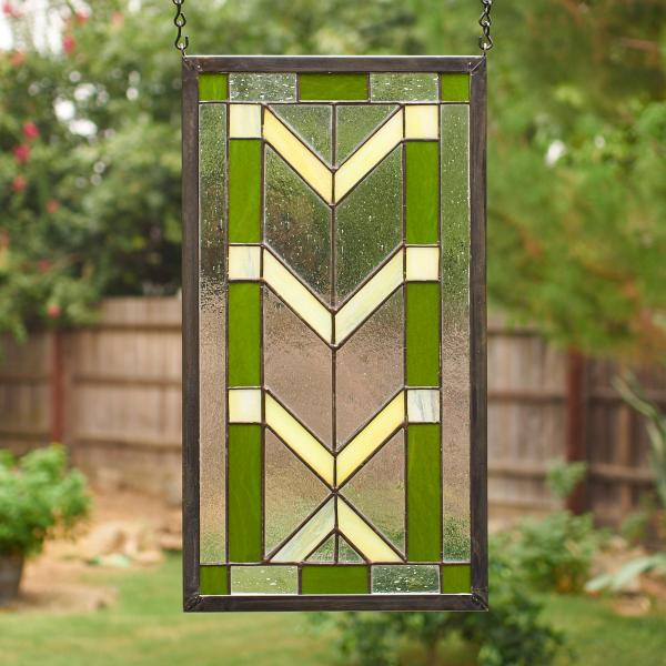 Frank Lloyd Wright Inspired Stained Glass Window Panel - Green/Yellow