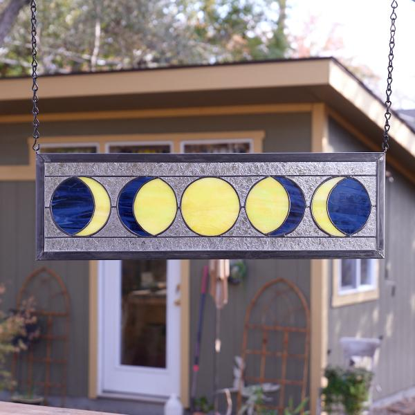 Five Moon Phases Stained Glass Window Panel - Deep Blue