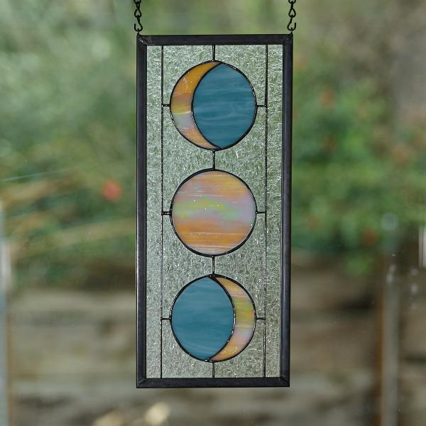 Three Moon Phase Stained Glass Window Panel - Colonial Blue