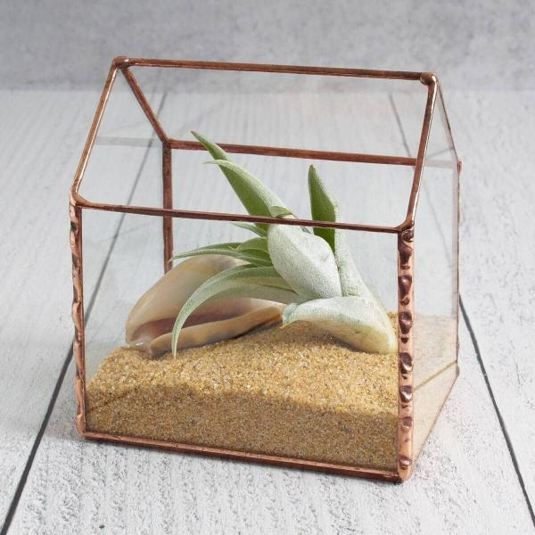 Tiny House Stained Glass Air Plant Holder