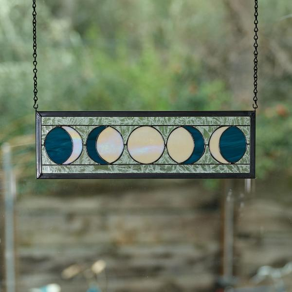 Five Moon Phases Stained Glass Window Panel - Steel Blue