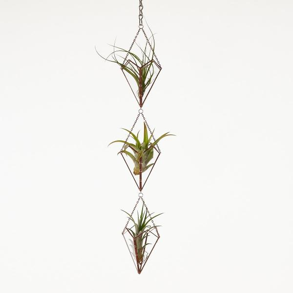 Hanging Triple Stained Glass Air Plant Holder