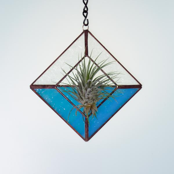 Diamond Hanging Stained Glass Air Plant Holder - Iridescent Aqua picture