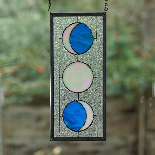 Three Moon Phase Stained Glass Window Panel - Medium Blue