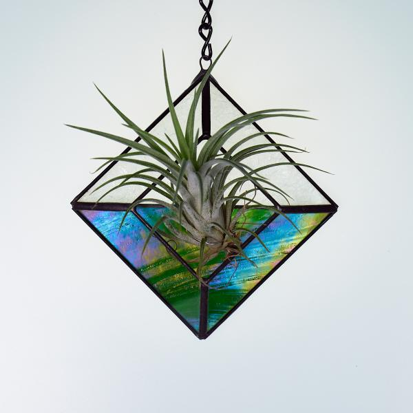 Diamond Hanging Stained Glass Air Plant Holder - Iridescent Green