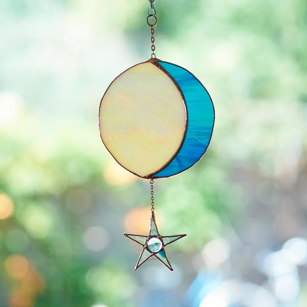 Stained Glass Moon Phase Suncatcher with Star - Streaky Blue/Iridescent Amber, Copper