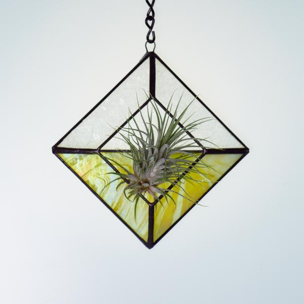 Diamond Hanging Stained Glass Air Plant Holder - Iridescent Lemon Yellow