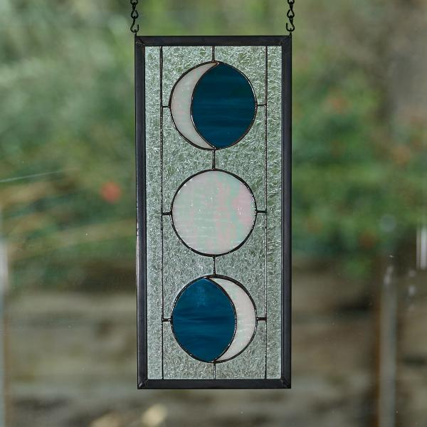 Three Moon Phase Stained Glass Window Panel - Steel Blue