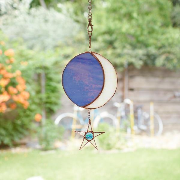 Stained Glass Moon Phase Suncatcher with Star - Iridescent Powder Blue/Iridescent White, Copper
