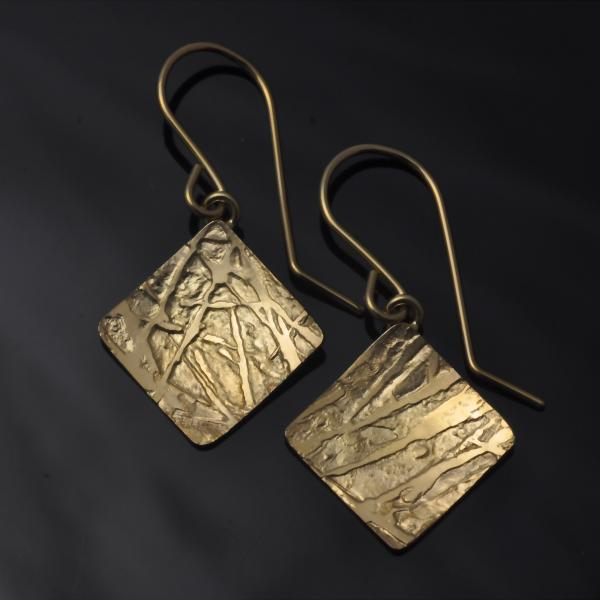 14KY gold 1/2 square (diamond shape) frost pattern earrings