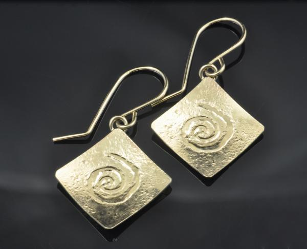 Celtic spiral 14KY gold earrings, Repousse'