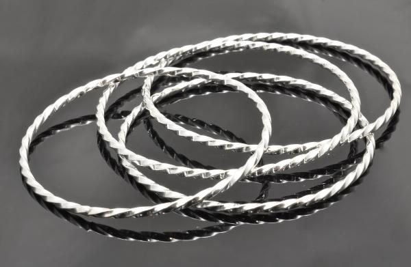 Sterling silver blacksmith twist bangles