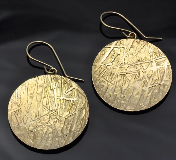 14KY gold inch inch round frost pattern earrings