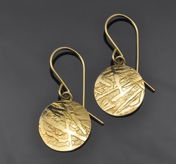 14KY gold 0.5 inch round frost pattern earrings