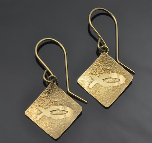 14KY gold Ichthys earrings