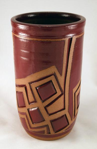Red Tall Bowl Vase