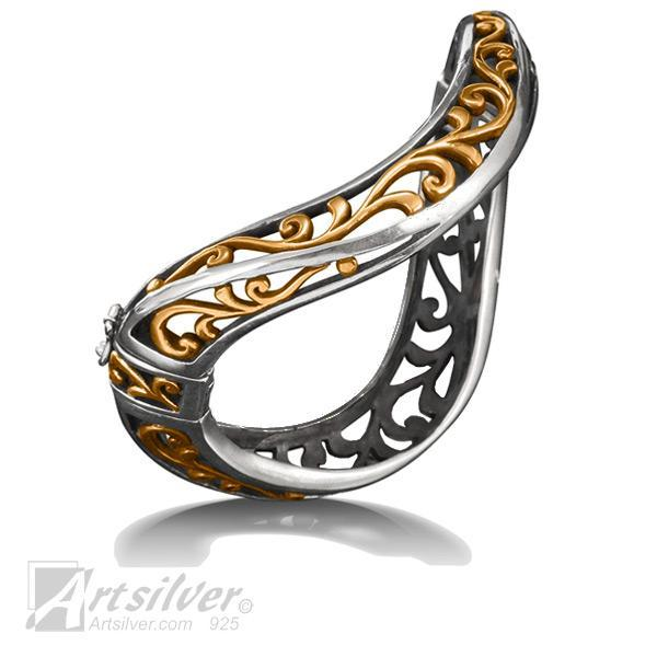 Ergo Hinged Filigree Bangle Style KS176 (size variation)